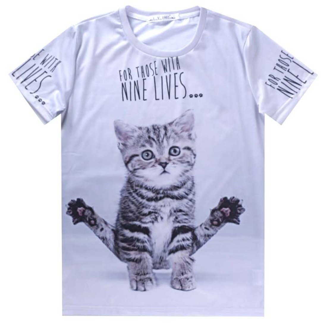 Cute Kitten Yoga Shaped Graphic Print T-Shirt in Grey