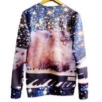 Kitty Cat On KeyBoard in Space Graphic Print Crew Neck Sweater