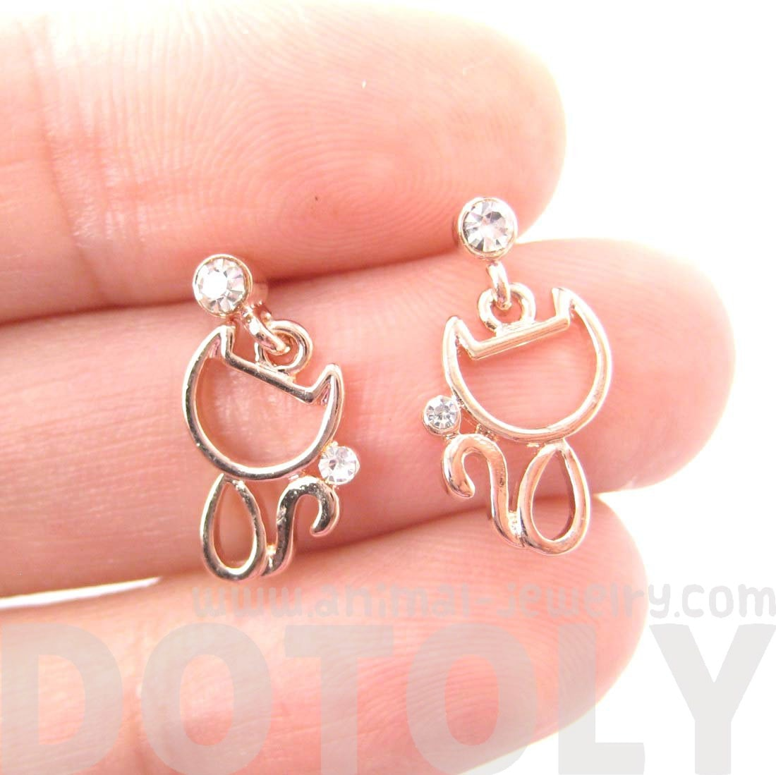 Kitty Cat Outline Shaped Animal Dangle Drop Stud Earrings in Rose Gold