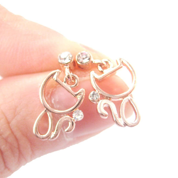 Kitty Cat Outline Shaped Animal Themed Dangle Drop Stud Earrings in Rose Gold | DOTOLY