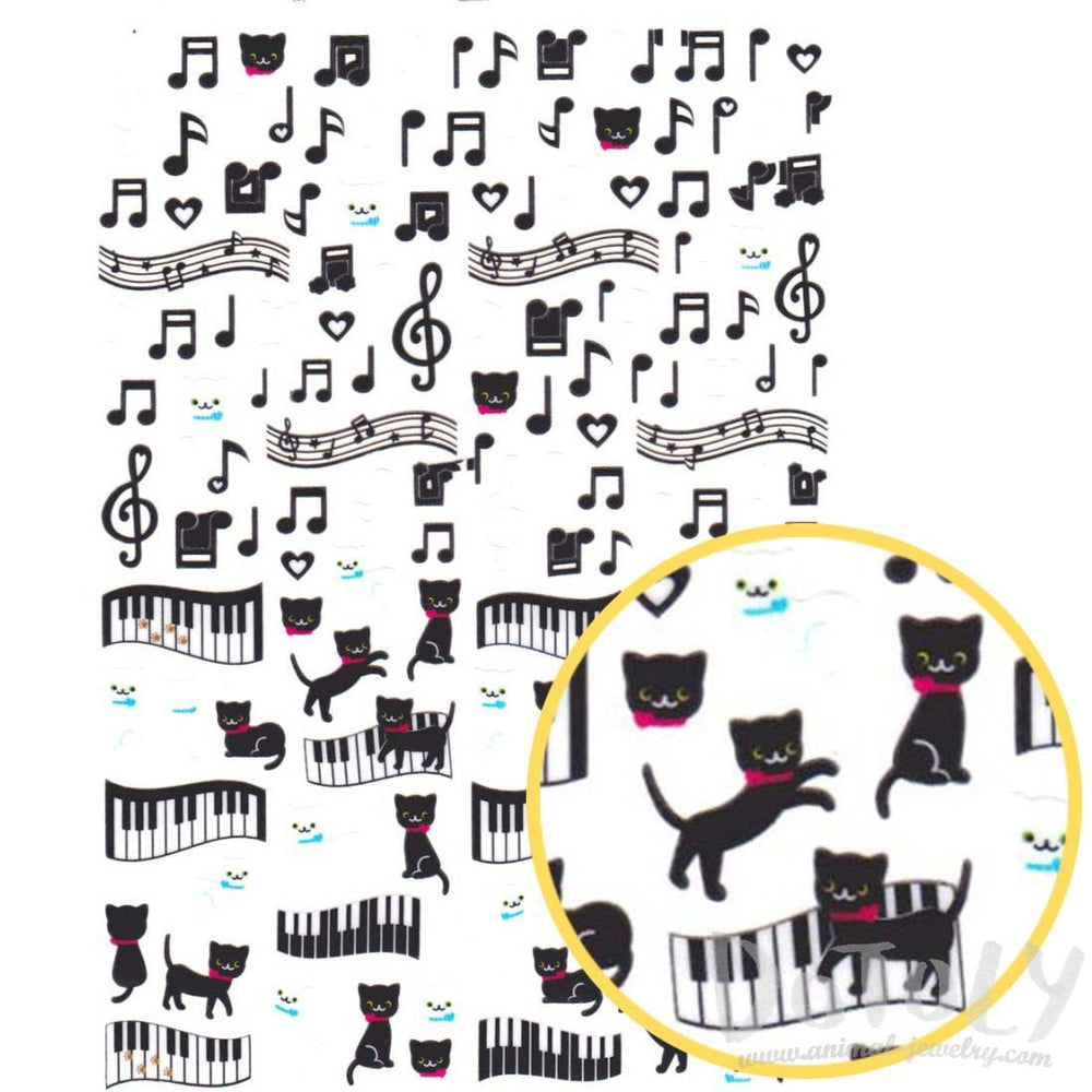 Kitty Cat Music Quaver Note Treble Clef Shaped Stickers