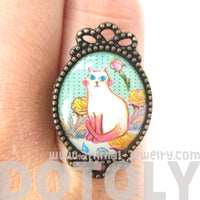 Kitty Cat Portrait Illustrated Adjustable Ring in White with Floral Detail | Animal Jewelry | DOTOLY
