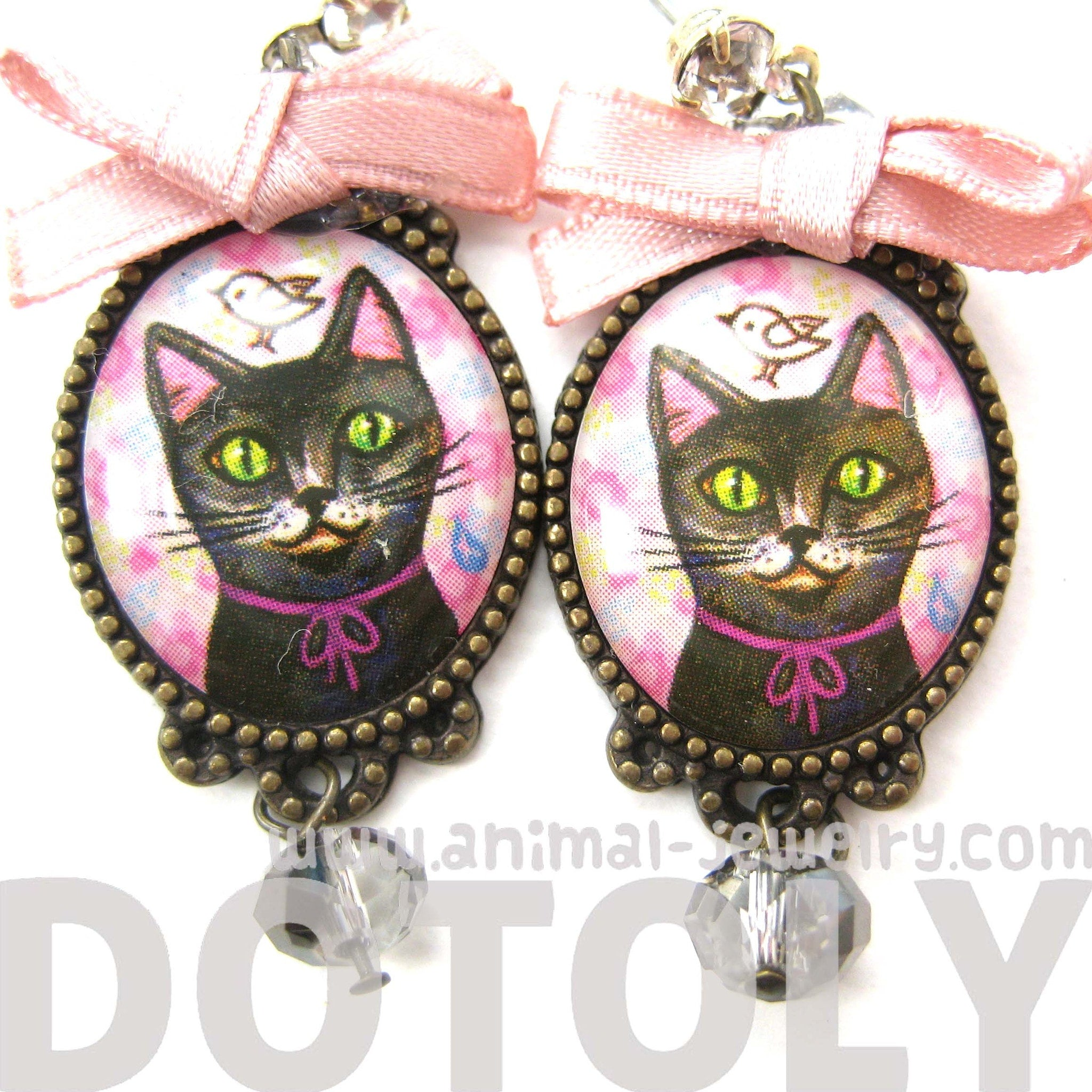 Kitty Cat Portrait Illustrated Drop Stud Earrings in Black with Bows | Animal Jewelry