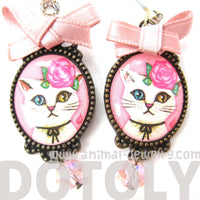 Kitty Cat Portrait Drop Stud Earrings with Multi Colored Eyes in White