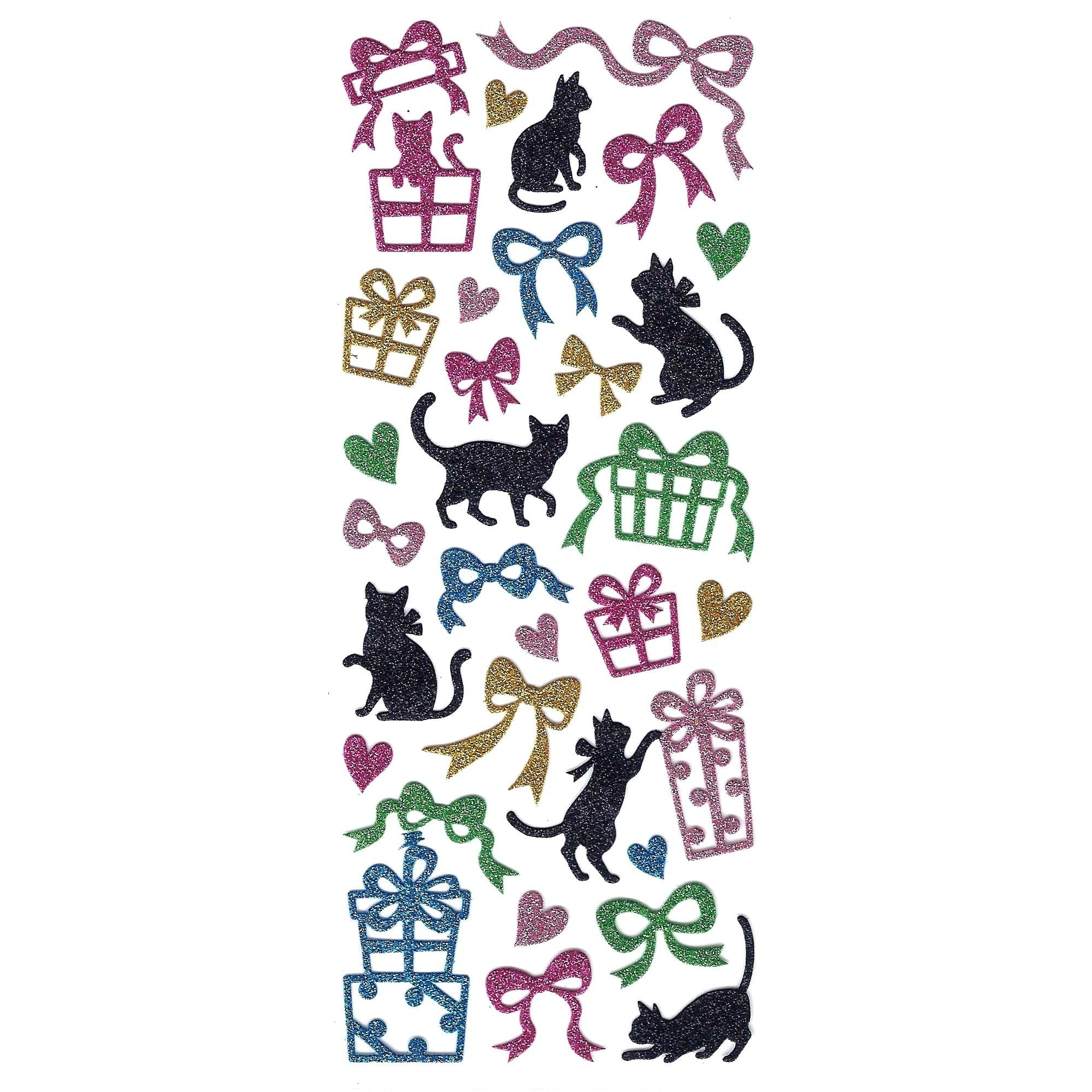 Kitty Cat and Ribbon Silhouette Animal Glittery Decorative Stickers
