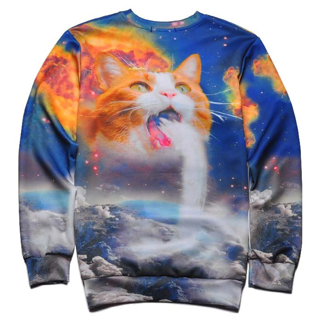 Kitty Cat Puking Waterfall in Space Print Unisex Pullover Sweatshirt