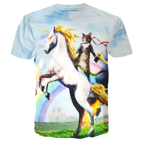 Kitty Cat Riding a Unicorn on a Rainbow Background Graphic Print Tee