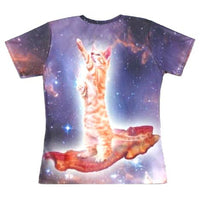 Kitty Cat Riding on Bacon in Space Nebula Graphic All Over Print T-Shirt | DOTOLY | DOTOLY