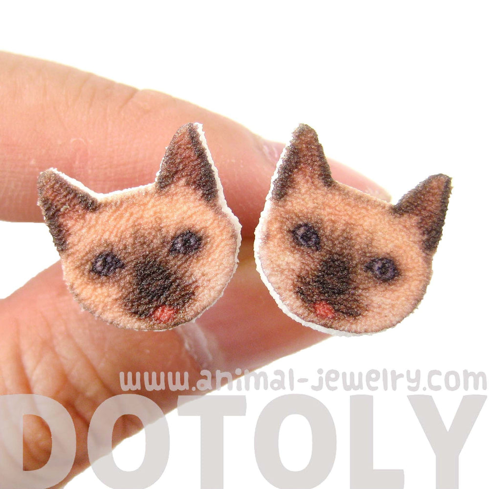 Kitty Cat Shaped Animal Head Stud Earrings | Handmade Shrink Plastic