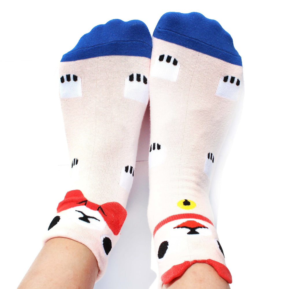 Cute Kitty Cat Shaped Animal Short Cotton Socks for Women in Pink