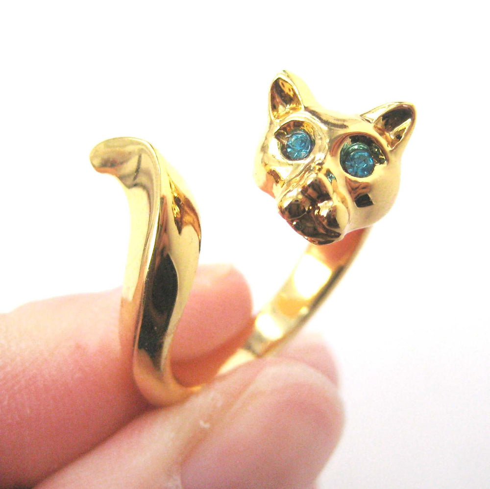 Kitty Cat Shaped Animal Wrap Ring in Shiny Gold with Turquoise Eyes