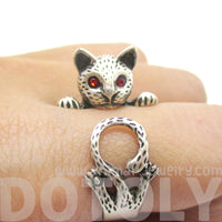 Kitty Cat Shaped Animal Ring in Silver with Curly Tail