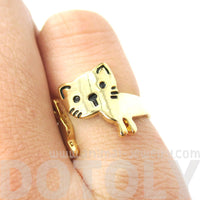 Kitty Cat Shaped Cartoon Animal Wrap Around Ring in Gold | DOTOLY | DOTOLY
