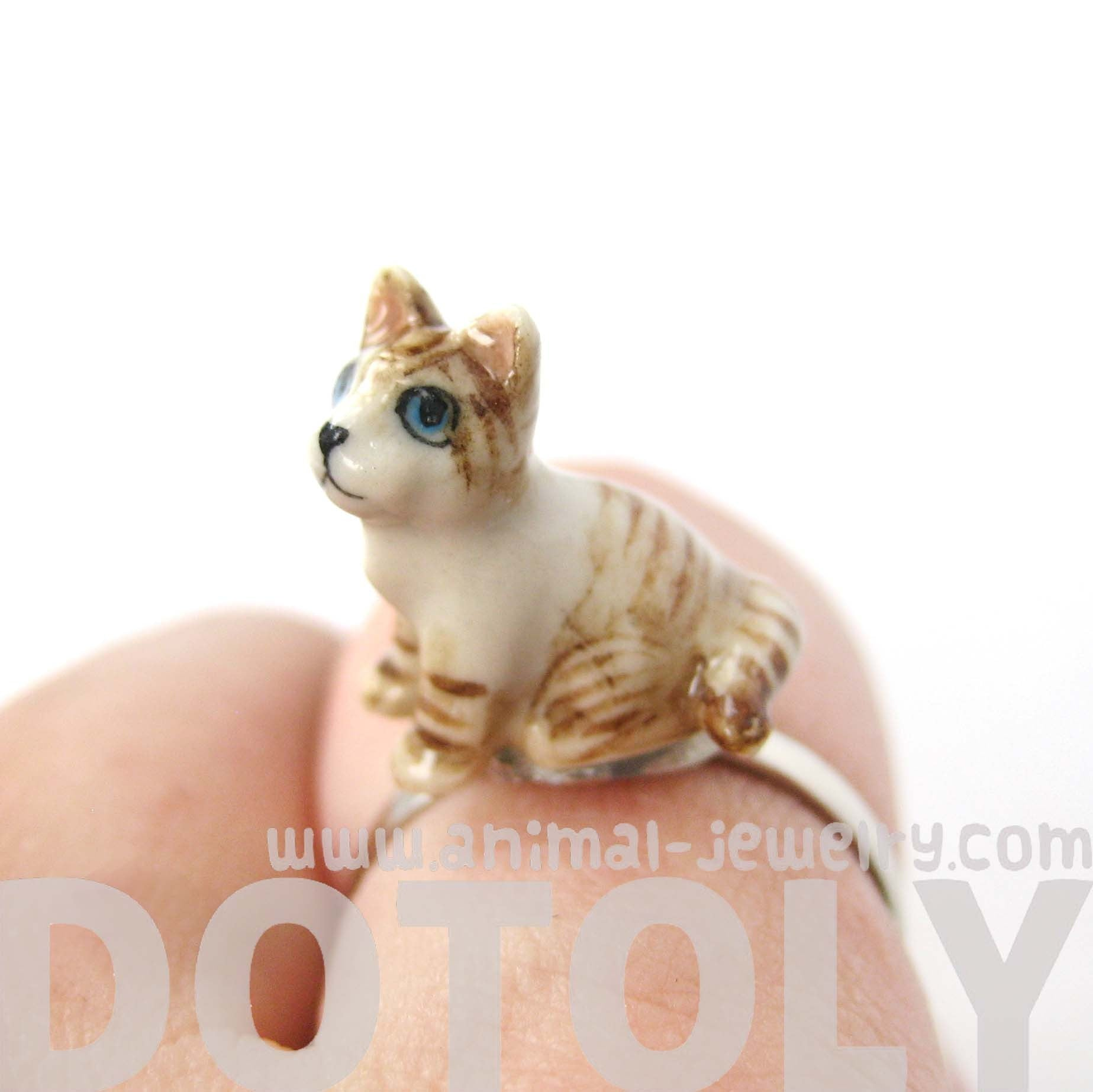 kitty-cat-shaped-porcelain-ceramic-animal-adjustable-ring-in-brown-and-white-handmade