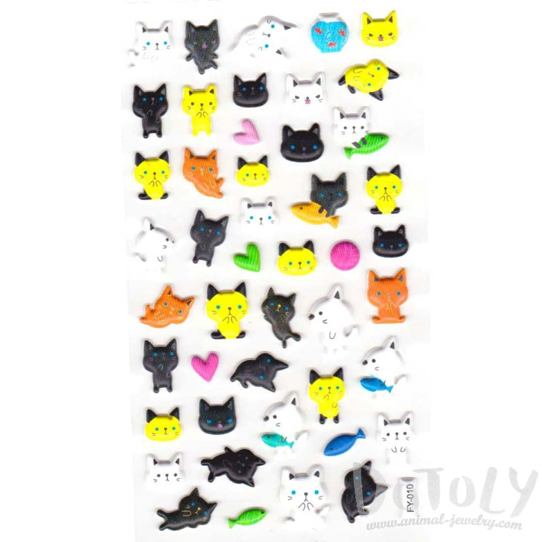 Kitty Cat Shaped Puffy Sticker Seals for Decorating
