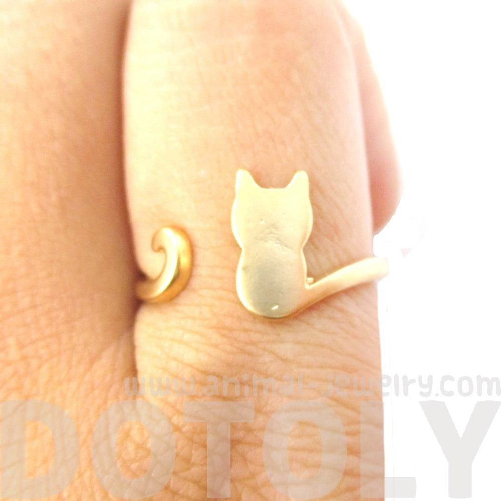Kitty Cat Silhouette Animal Shaped Adjustable Ring in Gold | DOTOLY