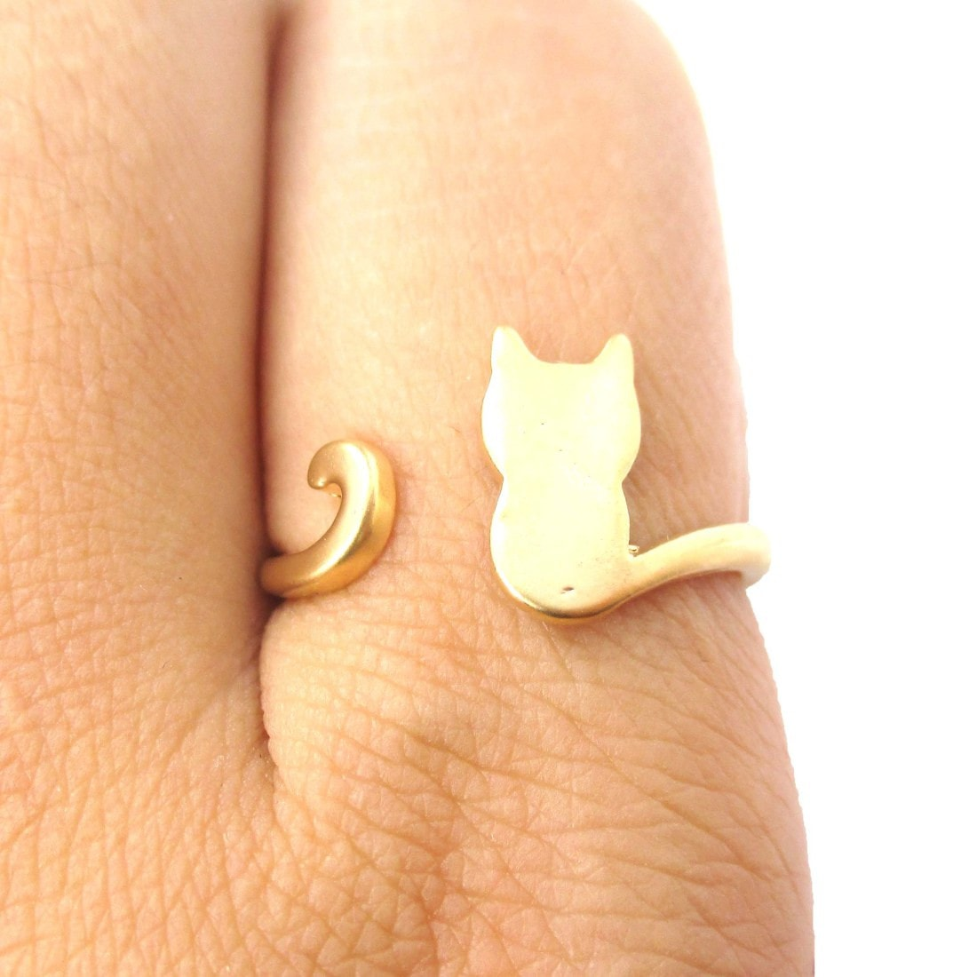 Kitty Cat Silhouette Shaped Adjustable Ring in Gold
