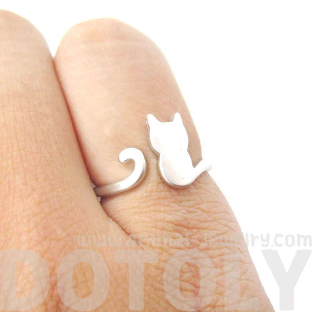 Kitty Cat Silhouette Animal Shaped Adjustable Ring in Silver | DOTOLY