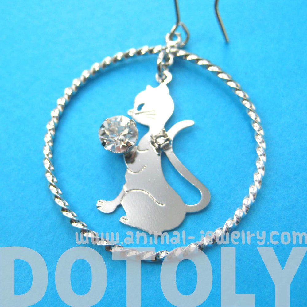 Kitty Cat Silhouette Hoop and Rhinestones Dangle Earrings in Silver