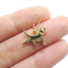Kitty Cat Silhouette Shaped Charm Necklace in Gold
