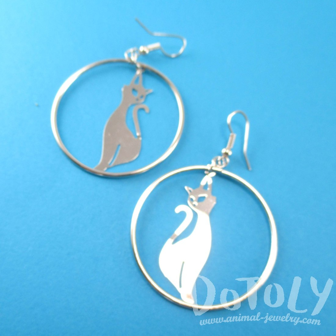 Kitty Cat Silhouette Shaped Dangle Hoop Earrings in Silver