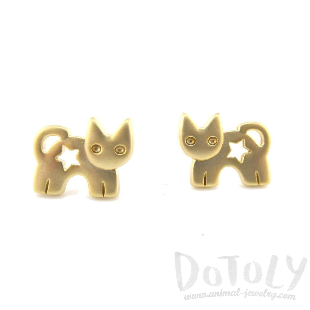 Kitty Cat Silhouette with Star Cut Out Stud Earrings