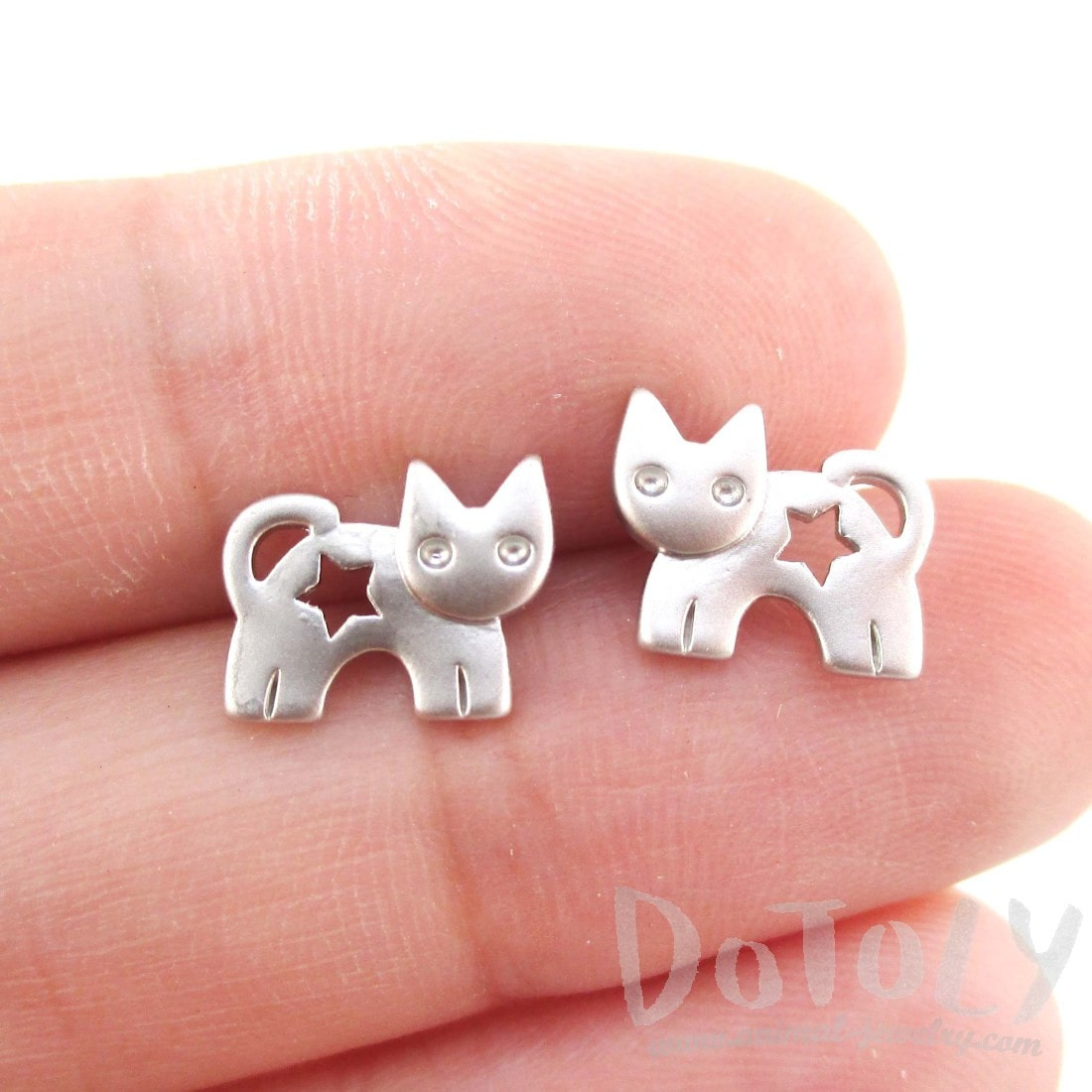 Kitty Cat with Star Cut Out Shaped Earrings in Silver