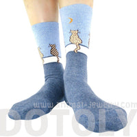 Kitty Cat Sitting on A Wall Silhouette Print Socks for Women in Blue | DOTOLY
