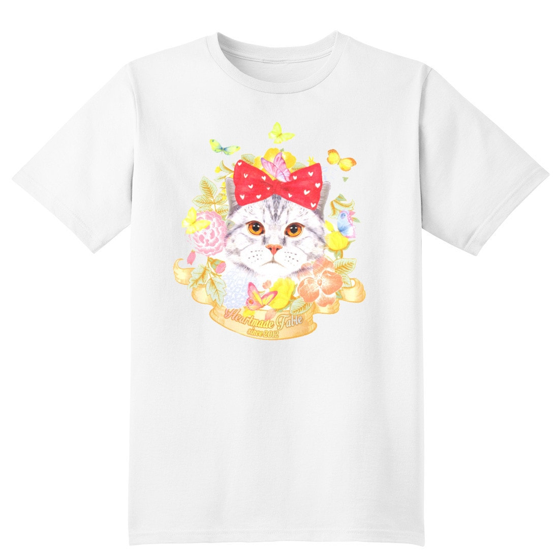 Kitty Cat Surrounded by Flowers and Butterflies Graphic Print Tee