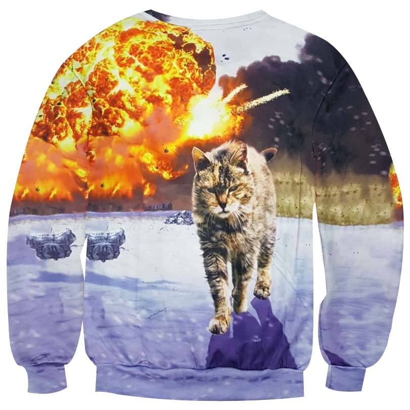 Kitty Cat Walking Away From Explosion Photoshopped Print Sweatshirt
