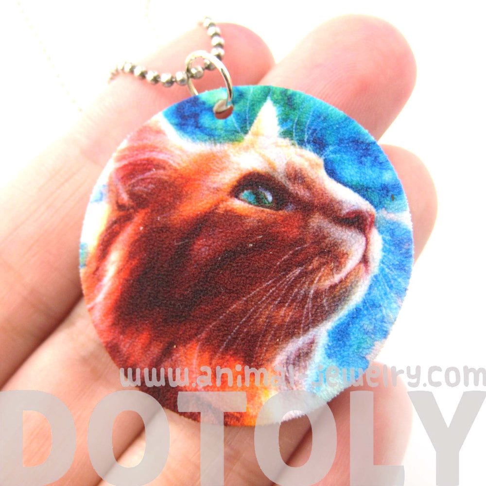 Kitty Cat Watercolor Animal Pendant Necklace | Handmade Shrink Plastic | DOTOLY