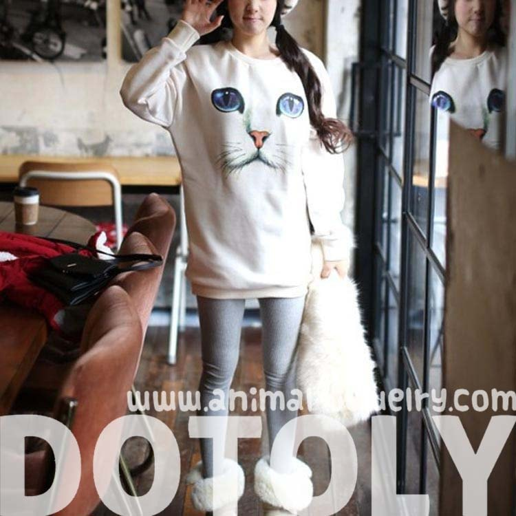 Kitty Cat with Large Blue Eyes Graphic Face Print White Pullover Sweater Jersey Jumper | DOTOLY