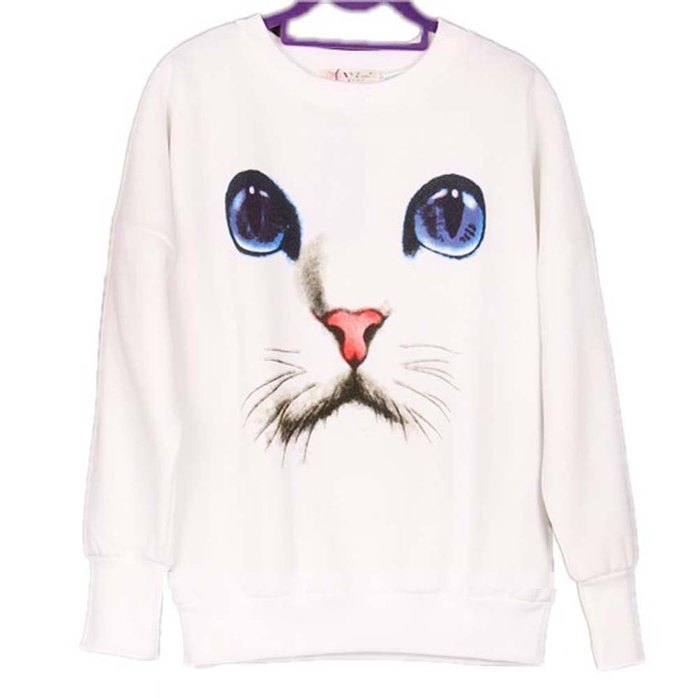 Kitty Cat with Large Blue Eyes Graphic Face Print Sweater in White