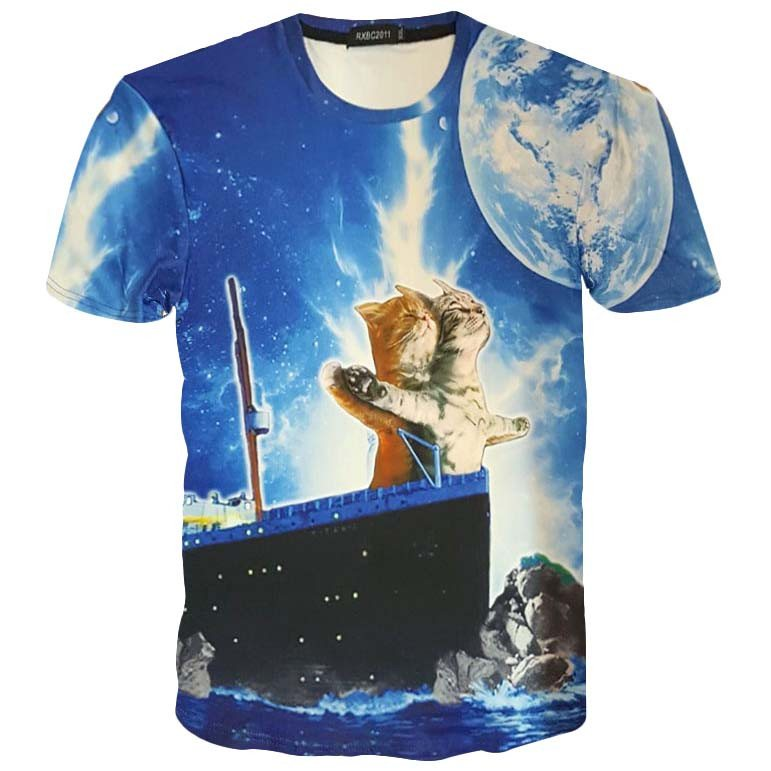 Kitty Cats Doing the Iconic Titanic Pose Photoshopped Graphic Print T-Shirt | DOTOLY