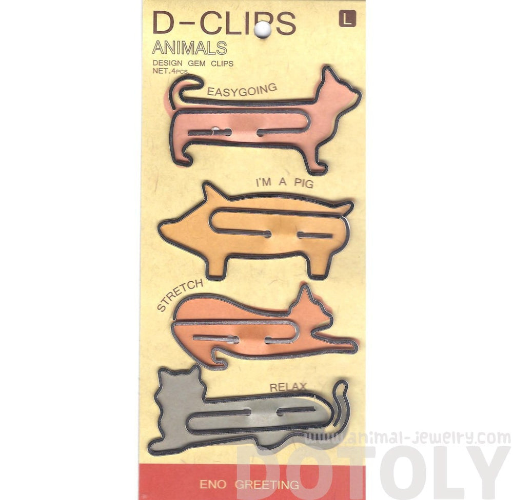Cute Kitty Cats in Different Poses Shaped Animal Themed Paper Clips