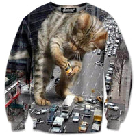 Kitty Catzilla Destroying NYC All Over Graphic Print Sweatshirt
