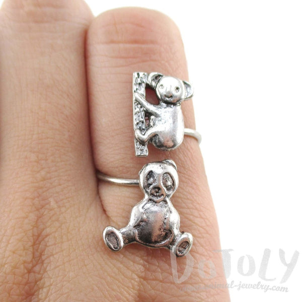 Koala Panda Bear Wrap Around Adjustable Ring in Silver