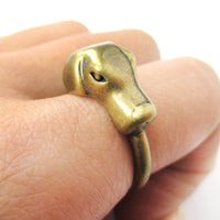 3D Labrador Retriever Puppy Shaped Animal Ring in Brass