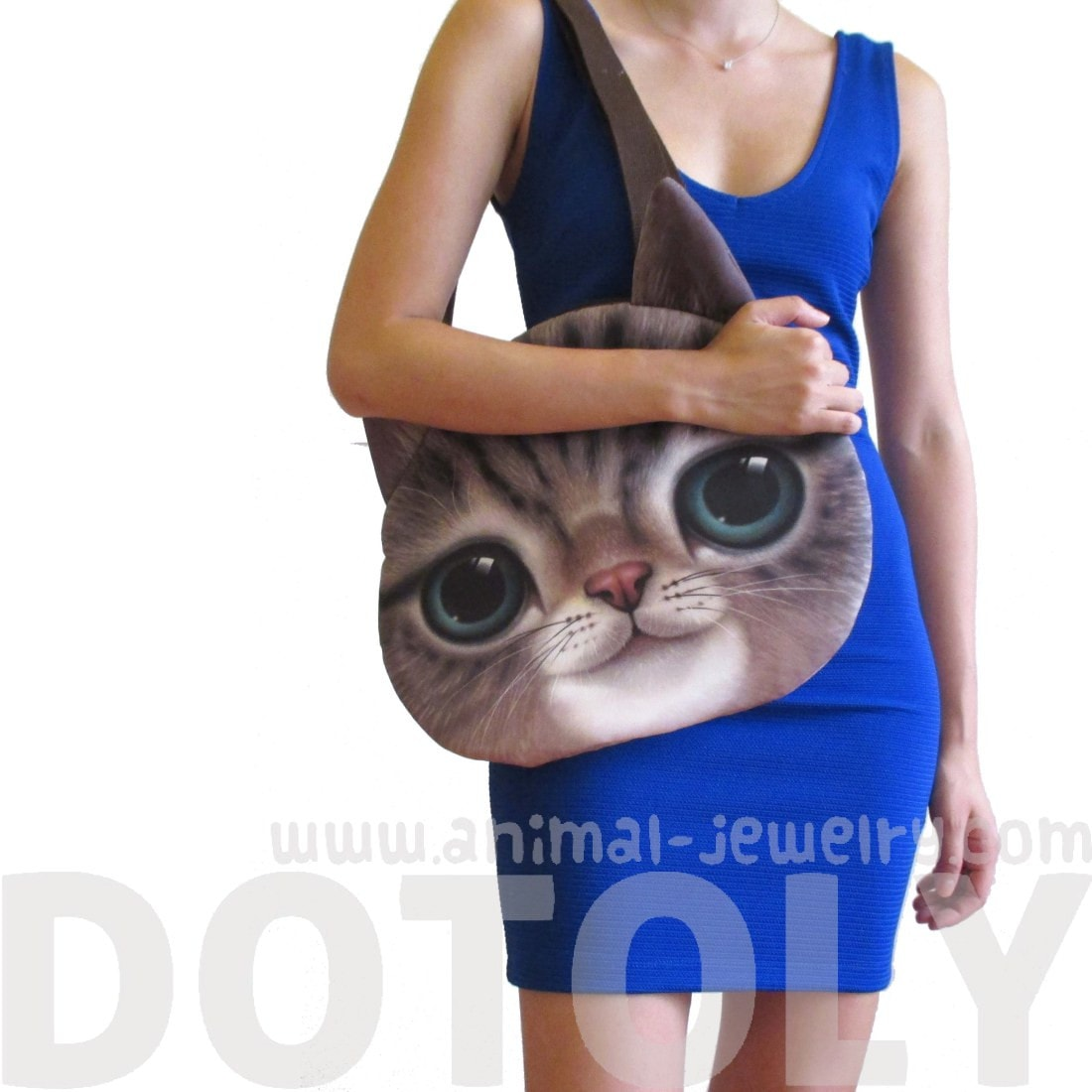 Large Adorable Kitty Cat Face Shaped Shopper Tote Bag