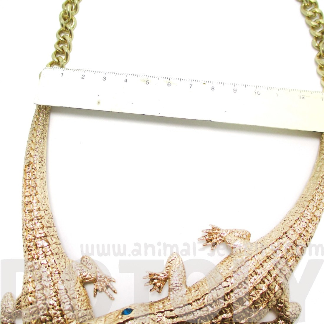 Large Alligator Crocodile Statement Necklace in Gold