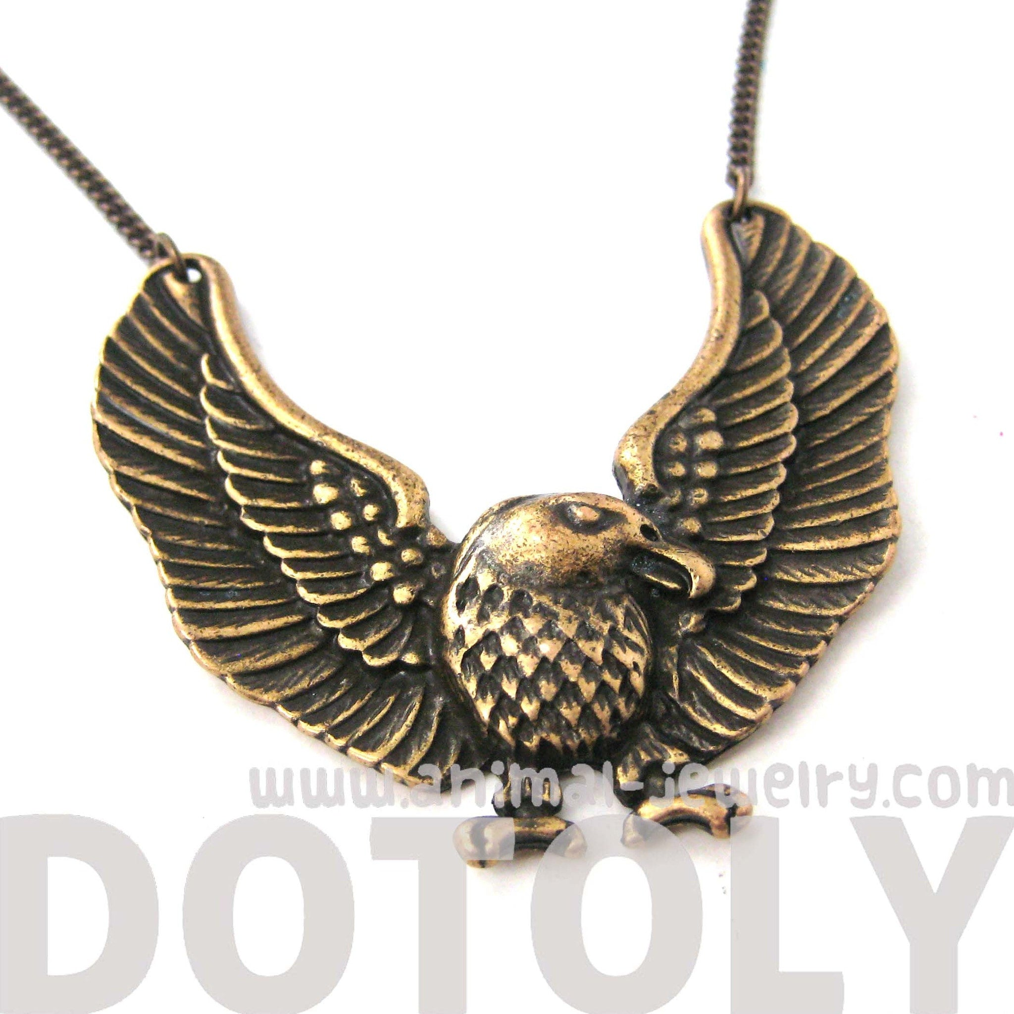 Large Bald Eagle Hawk Bird Shaped Animal Pendant Necklace in Bronze