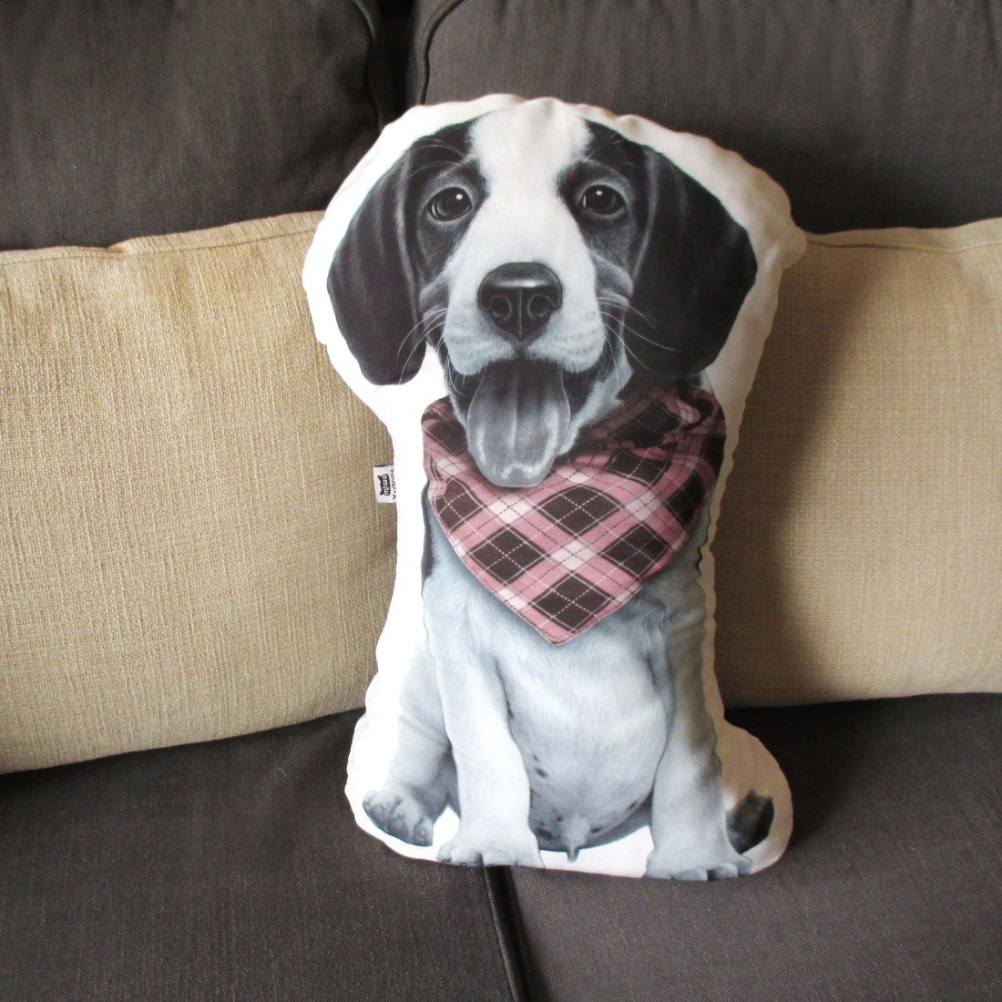 Large Beagle Puppy Dog Shaped Photo Print Cushion