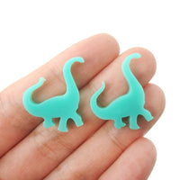 Brontosaurus Dinosaur Shaped Laser Cut Stud Earrings in Blue Green