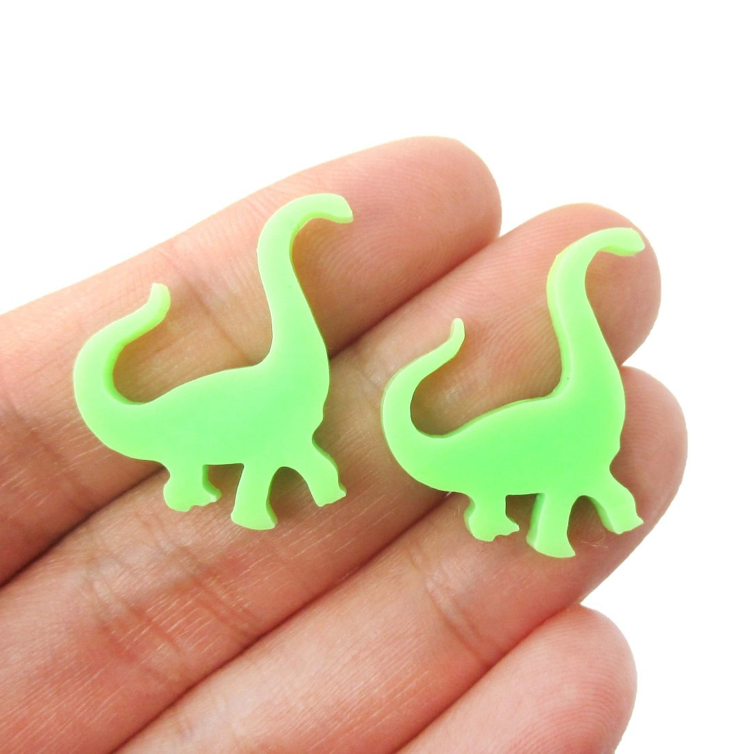 Brontosaurus Dinosaur Shaped Laser Cut Stud Earrings in Green