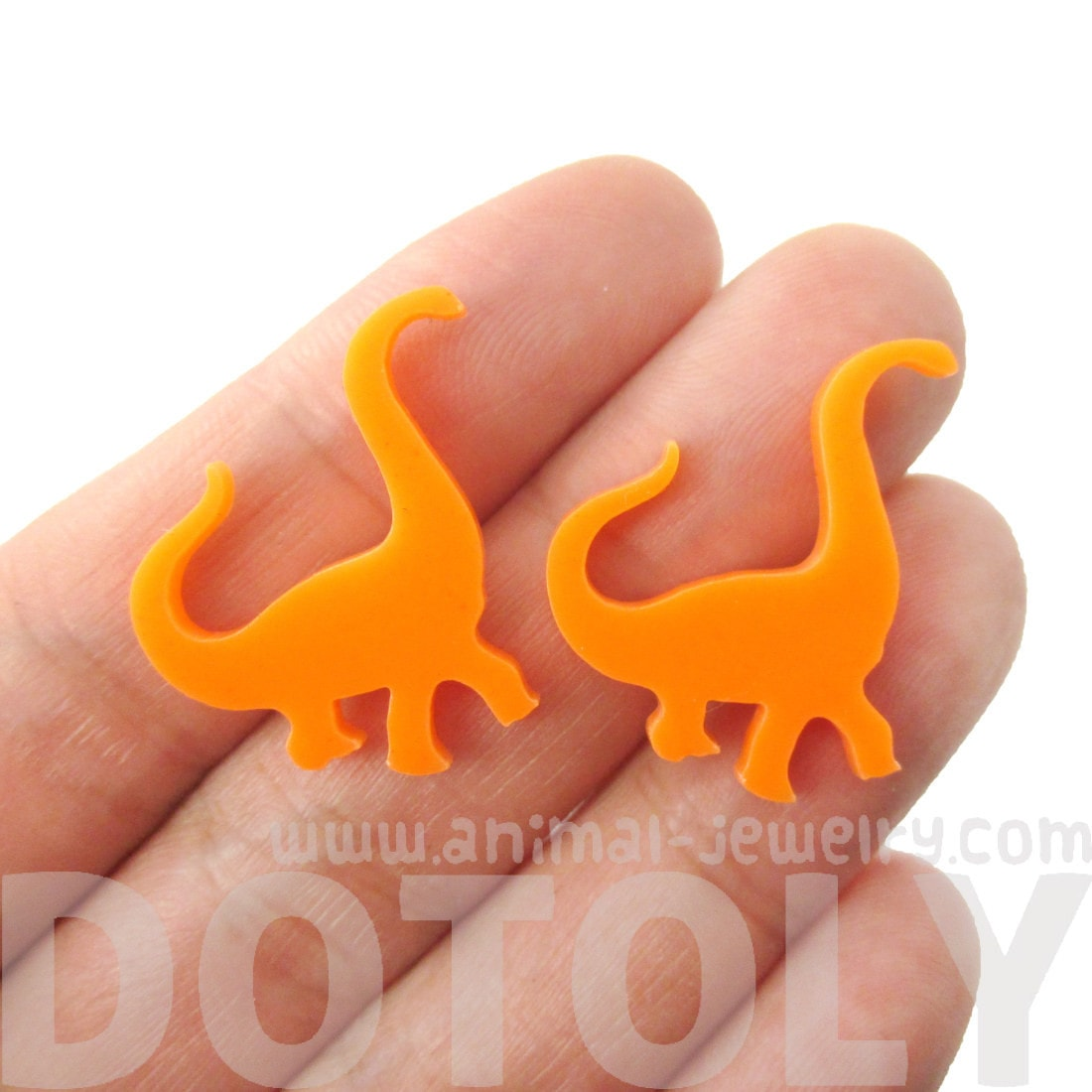 Large Brontosaurus Dinosaur Silhouette Shaped Stud Earrings in Orange