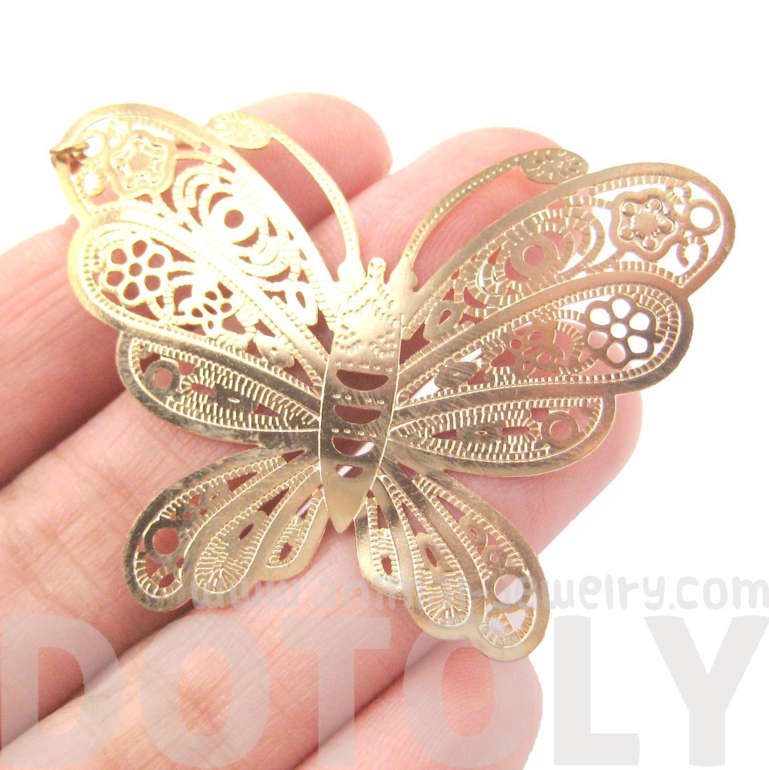Large Butterfly Cut Out Shaped Dangle Drop Earrings in Gold | DOTOLY