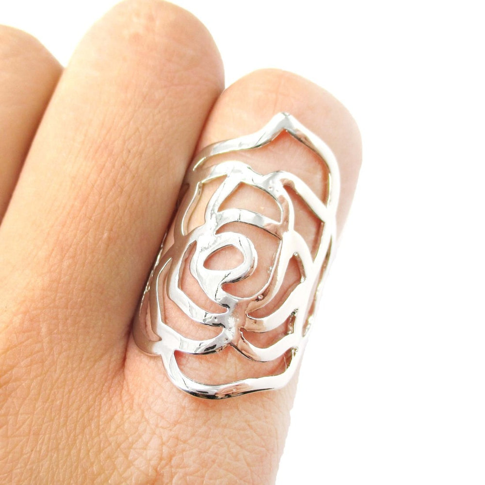 Large Classic Floral Rose Cut Out Shaped Ring in Shiny Silver | DOTOLY