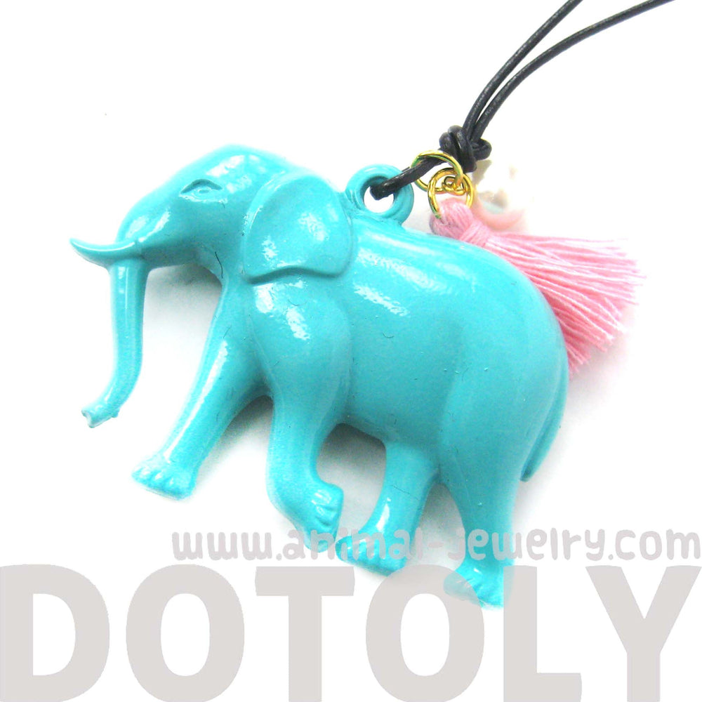 Large Colorful 3D Elephant Animal Pendant Necklace in Mint Blue | DOTOLY