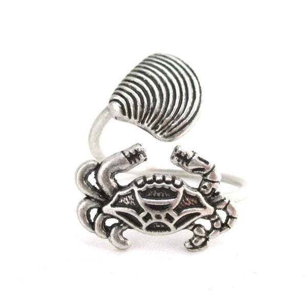 Large Crab and Seashell Adjustable Wire Wrap Ring in Silver | DOTOLY