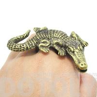 Large Crocodile Alligator Double Finger Statement Ring